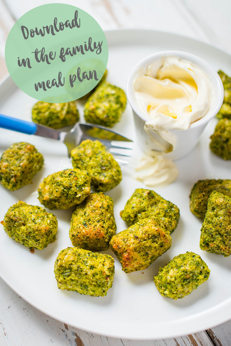 Try this ultimate veggie smuggler recipe for Cheesy Broccoli Gems. You can find it in the new family meal planner by The Dairy Kitchen