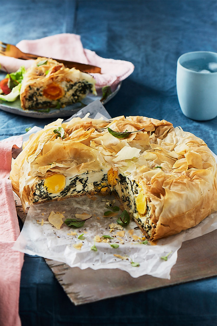 Enjoy eggs for dinner with this great Egg and SIlverbeet Filo Pie