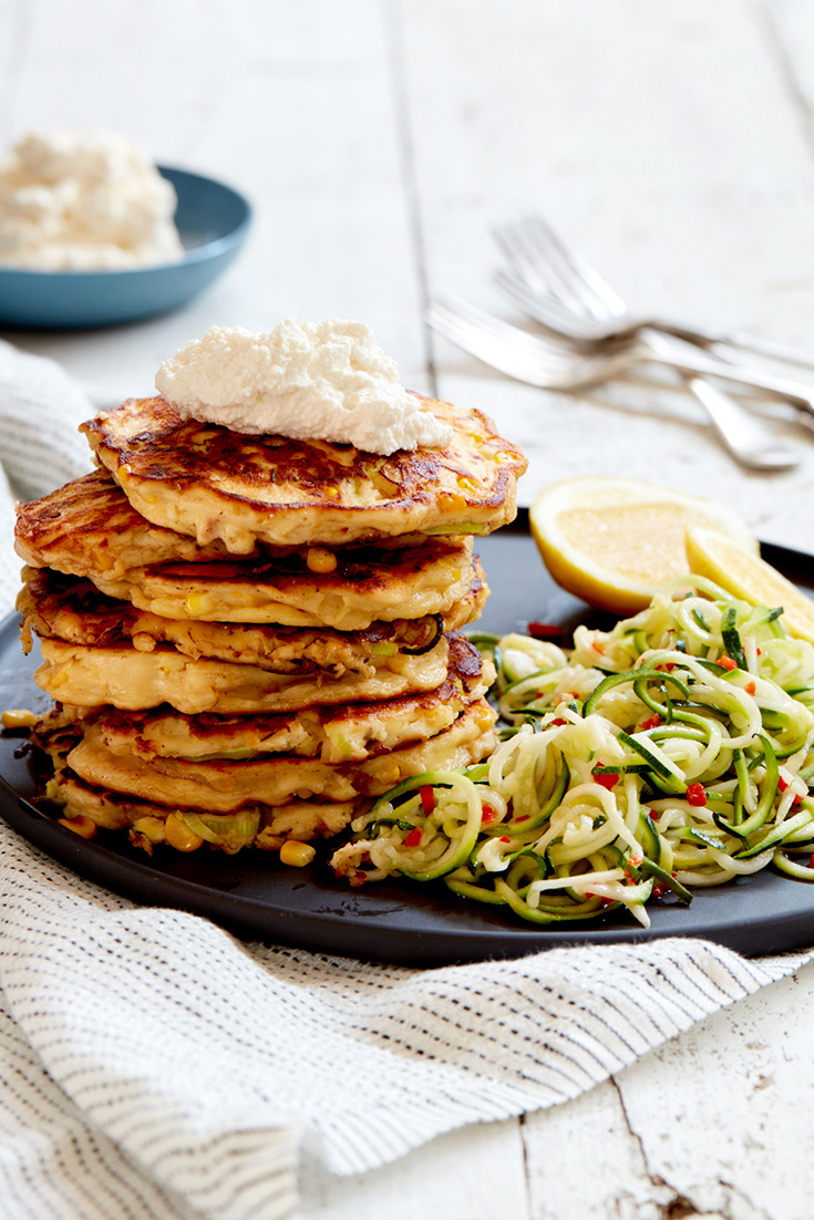 This fast and fresh recipe for fritters with zucchini noodles is the perfect weeknight dinner