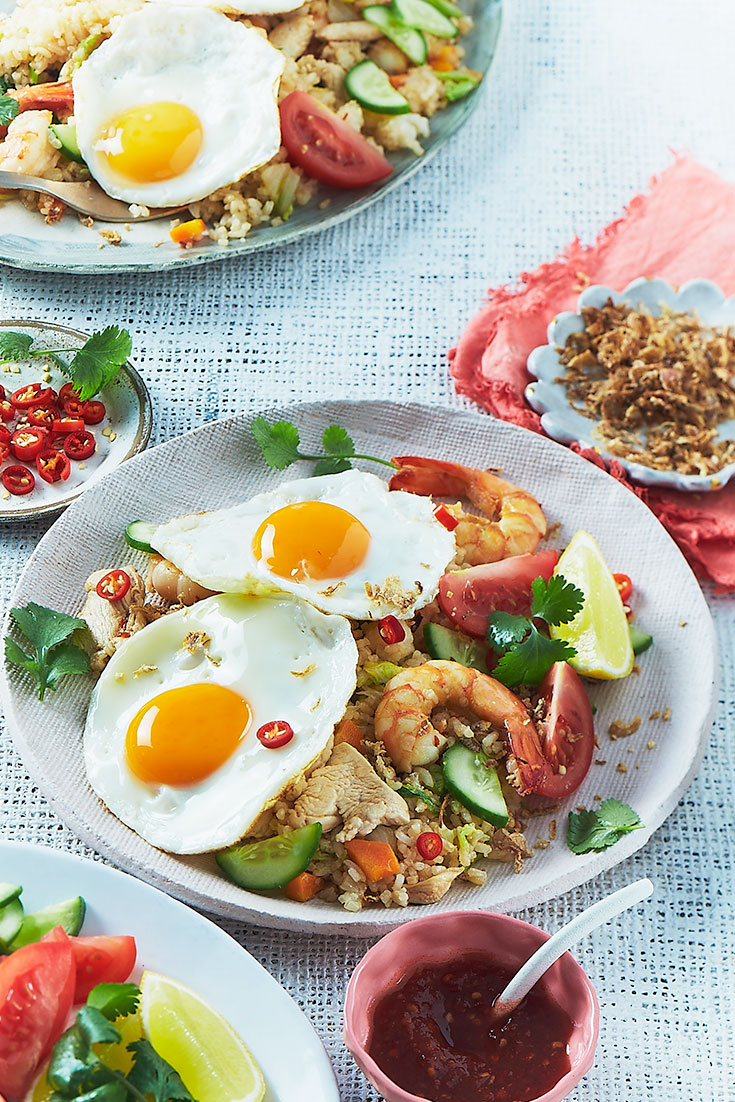 Fried Eggs are the cherry-on-top of this great Nasi Goreng recipe. One of the best ways to eat eggs for dinner!
