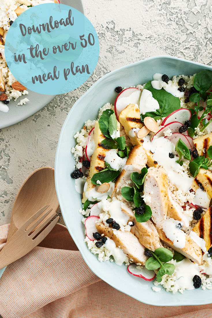 This balanced chicken and cauliflower salad is a great lunch or light dinner idea
