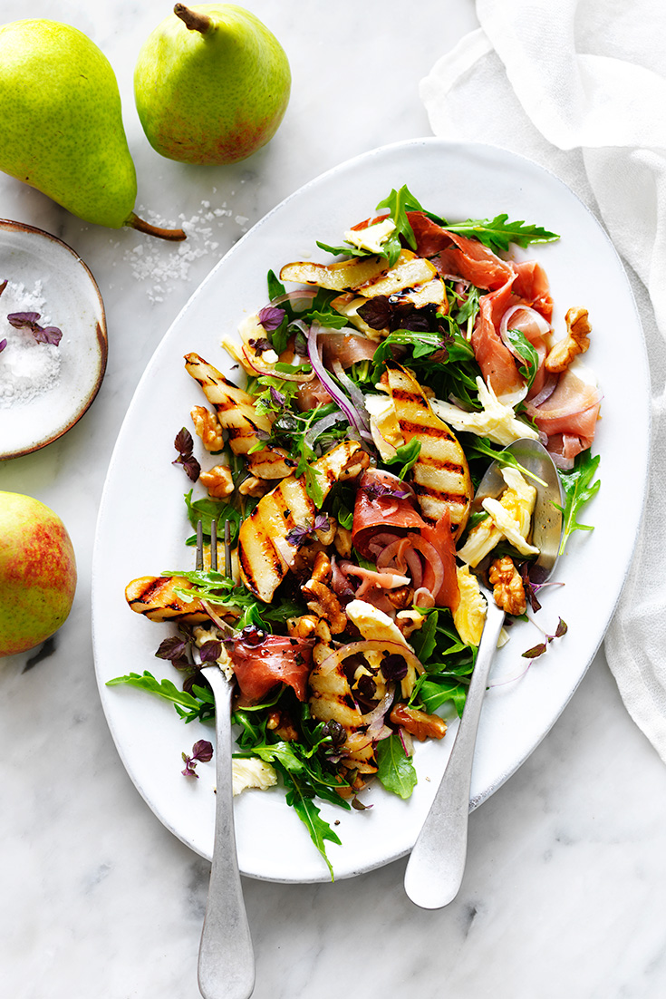 A wonderful combination of warm and fresh, sharp and smooth flavours in this pear salad