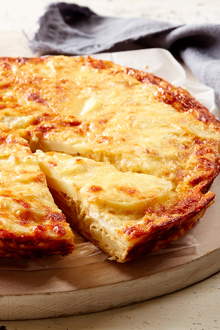 Ideal for making ahead and freezing, this delicious potato and caramelised onion frittata is great for the lunch or dinner menu