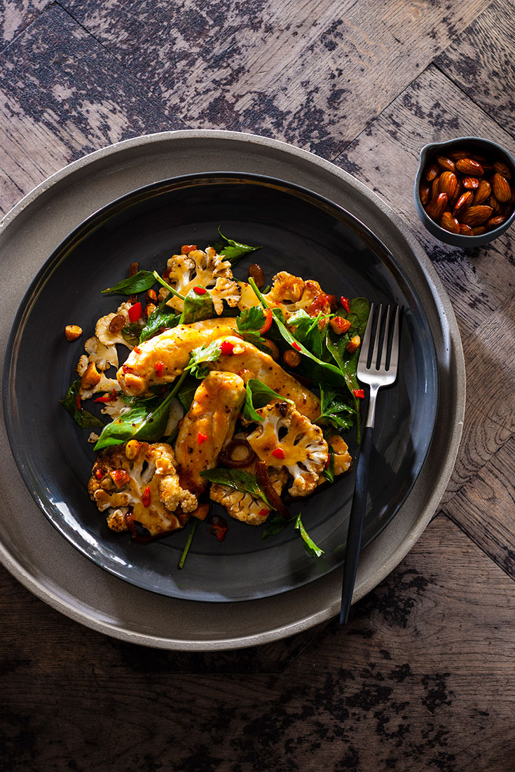Try this easy and nutritious chargrilled cauliflower, chicken and caramelised onion salad which makes for an easy family meal