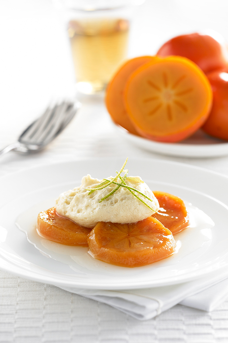 This lime poached persimmon with white chocolate mousse recipe is simple and easy. Showcasing the easy ways to eat persimmons