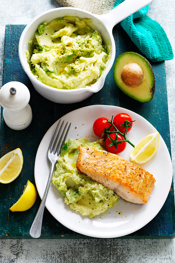 Serve pan seared salmon with creamy avocado parsnip mash in this weeknight dinner idea