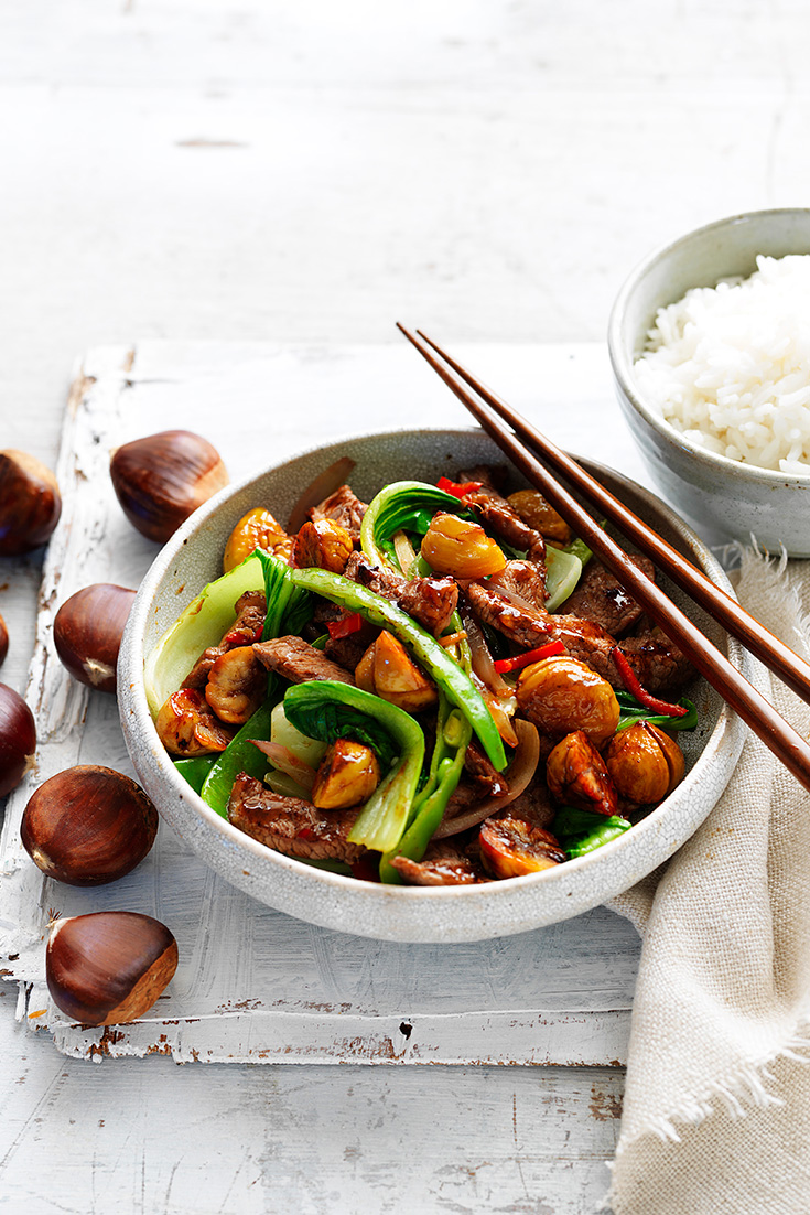 If you don't know what to do with chestnuts, why not try this Chestnut, Beef and Boy Choy Stir-fry. This easy weekday meal idea, encompasses this seasons favourite flavours.