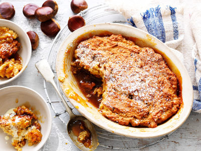 Chestnut and golden syrup pudding