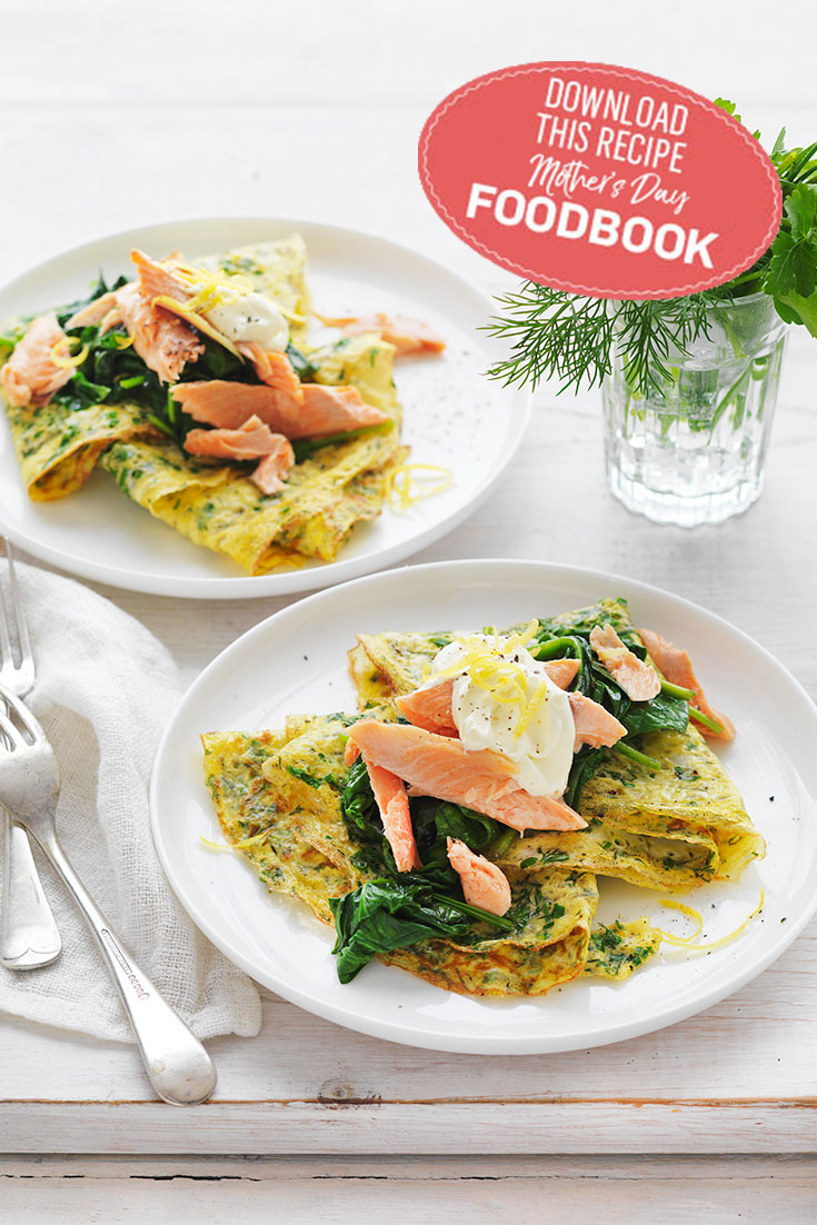 These Herb Omelettes are finished wonderfully with a dollop of sour cream and warm smoked fish