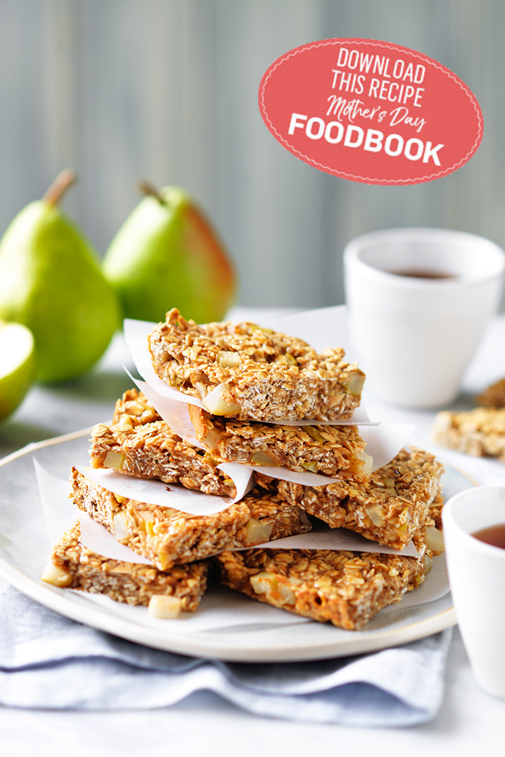 Enjoy Pear and Oat Slice and a cup of tea with mum this Mother's Day. Recipe from the 2017 Mother's Day Foodbook