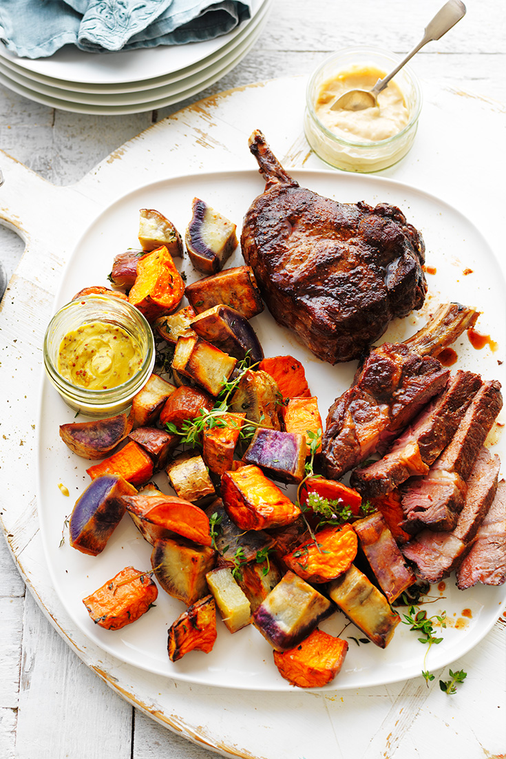 This incredible rib eye with sweet potato medley was made for entertaining, pop it on your Easter menu plan this year.