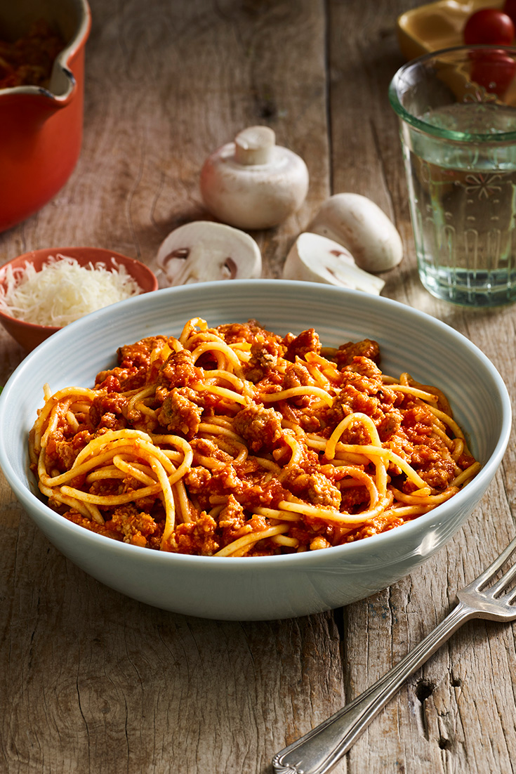 This 12-minute spaghetti and mushroom bolognese recipe is the ultimate veggie smuggling vessel. Diced veggies can be easily blended into the mince and pasta