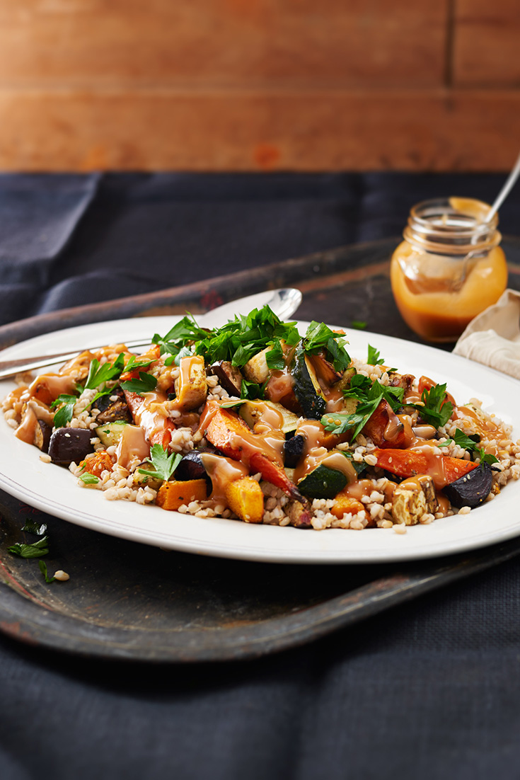 This tasty barley and nutty roast salad recipe is perfect for a meatless Monday dinner idea.