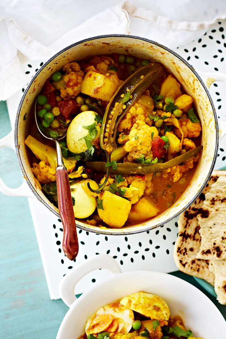 This vegetarian egg, potato and cauliflower curry recipe is a perfect family dinner idea to add to your comfort food recipes collection