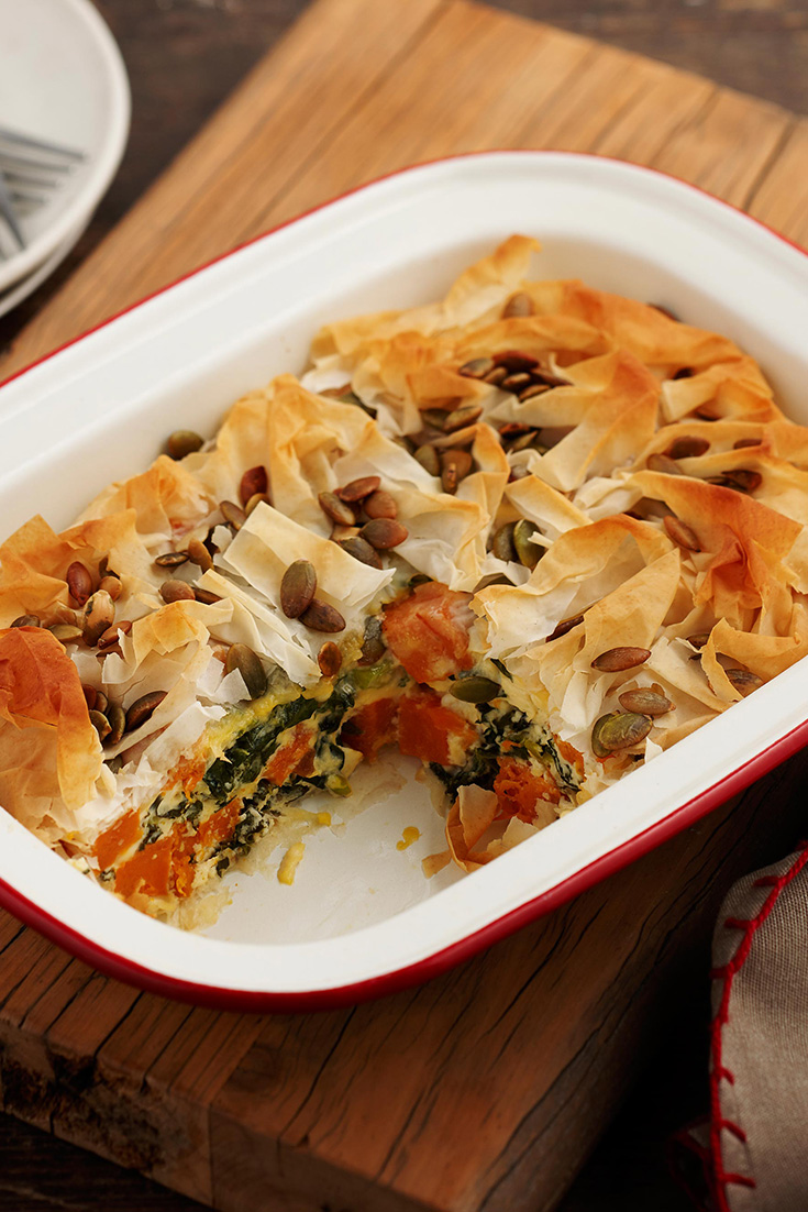 This kale, feta and pumpkin pie recipe is great for the whole family and is contains good sources of protein