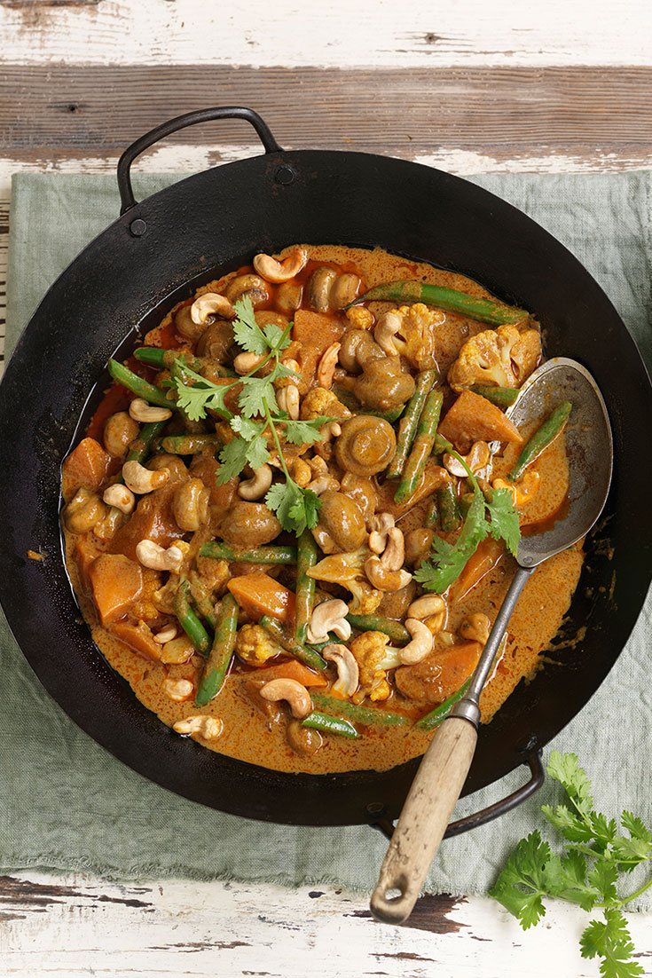 This mushroom korma curry recipe is the perfect example of a better for you comfort food recipe.