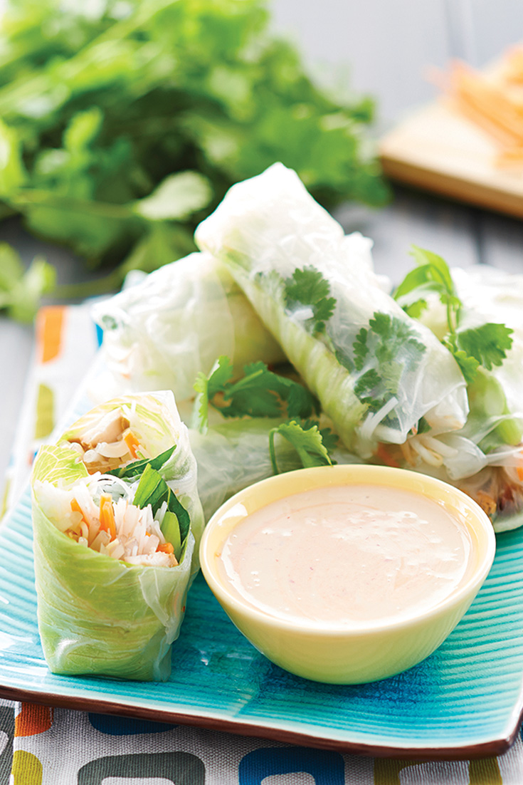 This rice paper roll recipe is the prime example for using leftover chicken. These rolls are the perfect lunch recipe or a quick dinner idea.