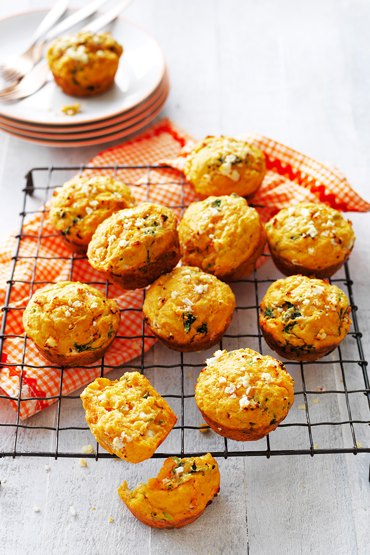 These sweet potato, spinach and feta muffins will be a winner with mum on Mother's Day