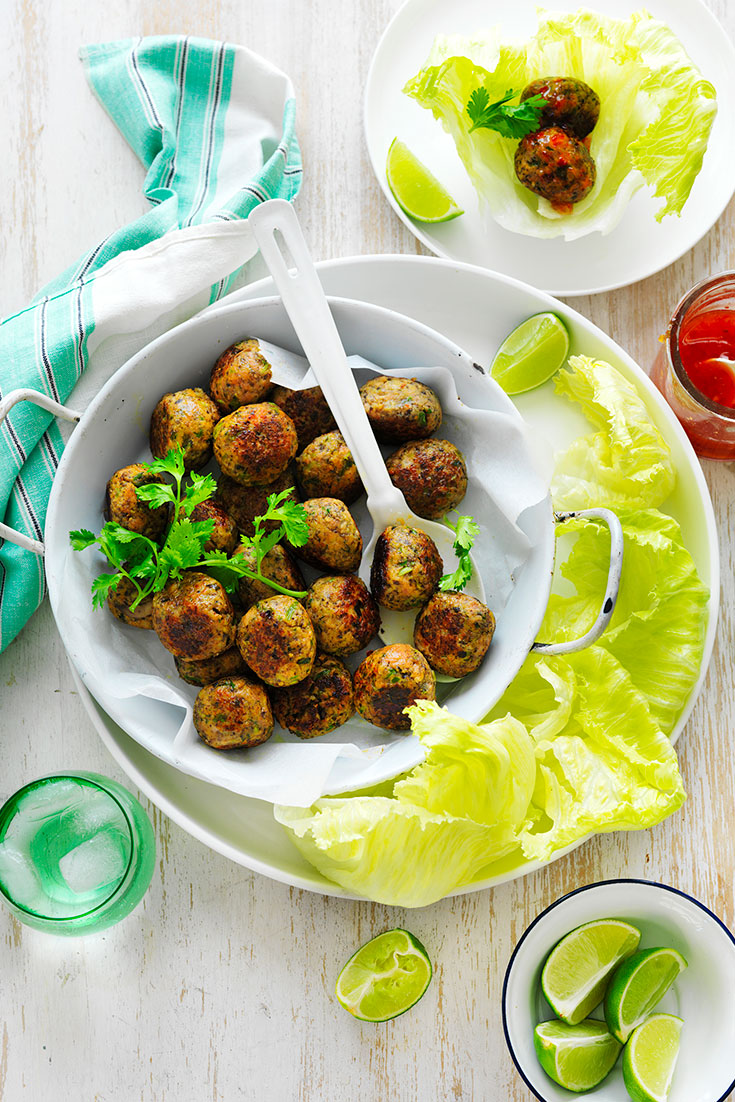 This delicious Thai pork and mushroom meatball recipe is the perfect idea to veggie smuggler as many diced vegetables as possible. The kids will never know.