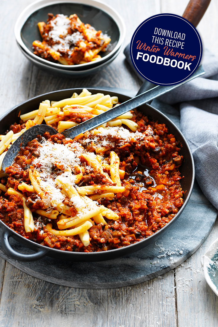 This hearty mushroom and lentil bolognese sauce recipe is the ultimate dish to serve up to the family as a hearty veggie meal.