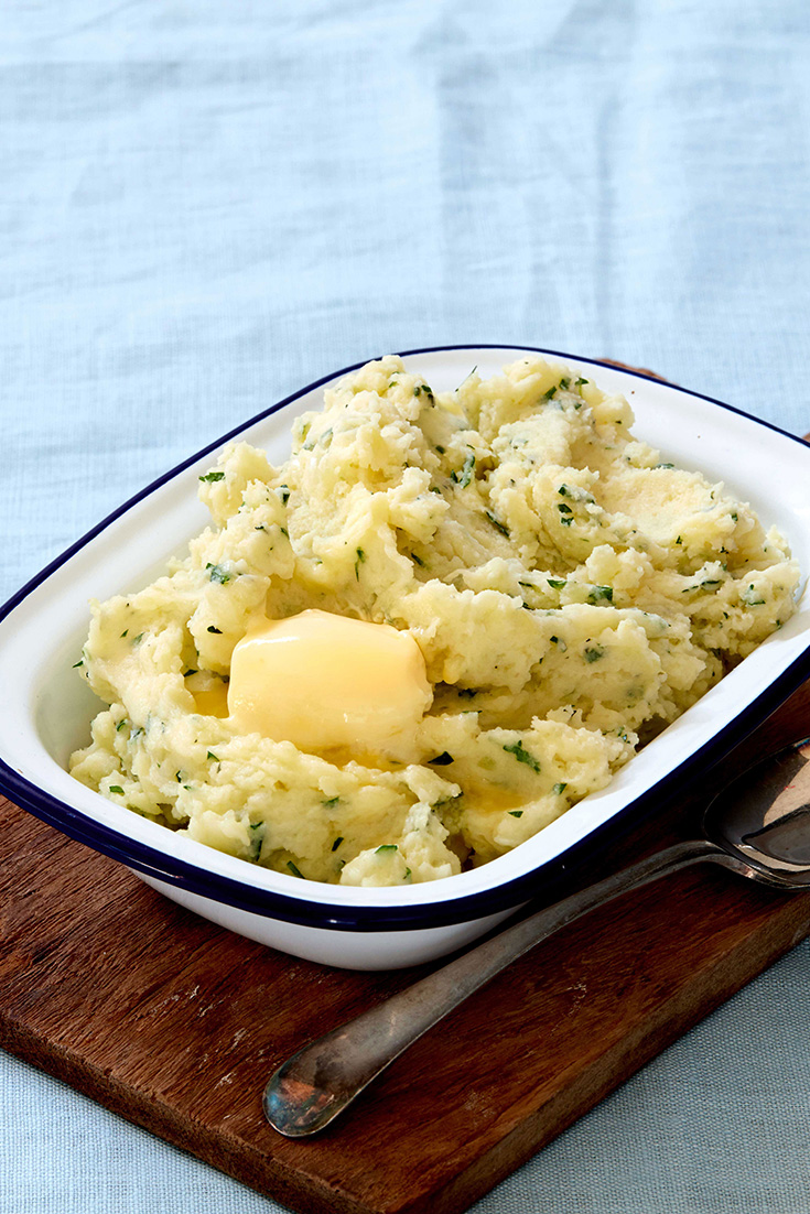 This tasty garlic and herb mash is a delicious way to mix up your mashed potato.