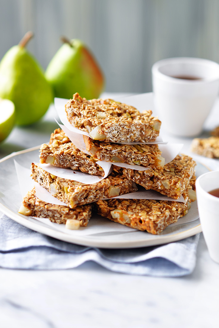 This pear and oat slice recipe is fantastic to prepare in advance and surprise mum on Mother's Day