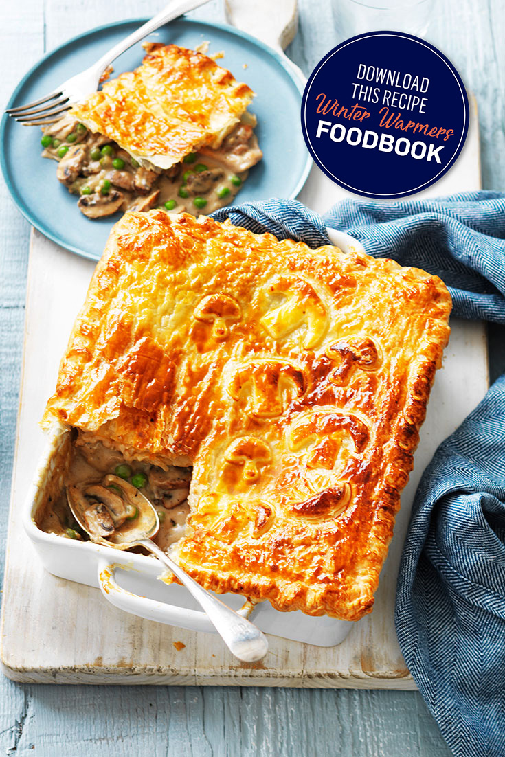 This crispy and golden chicken and mushroom pie is the perfect meal for everyday and entertaining dinner idea.