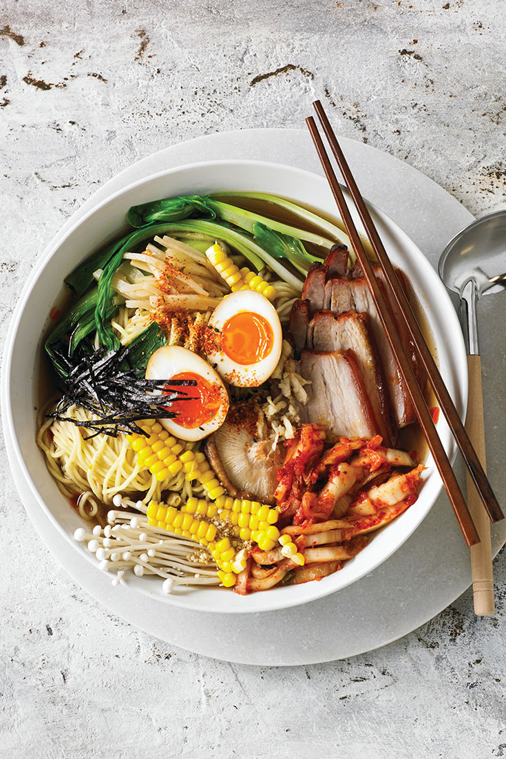 This stunning ramen noodle soup with soy sauce, eggs, pork and mushroom recipe won't disappoint. This ramen recipe is the perfect comforting dinner idea.