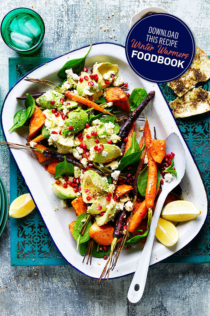 This stunning warm moroccan avocado and roasted vegetable salad is the perfect accompaniment to pair with your winter meal.