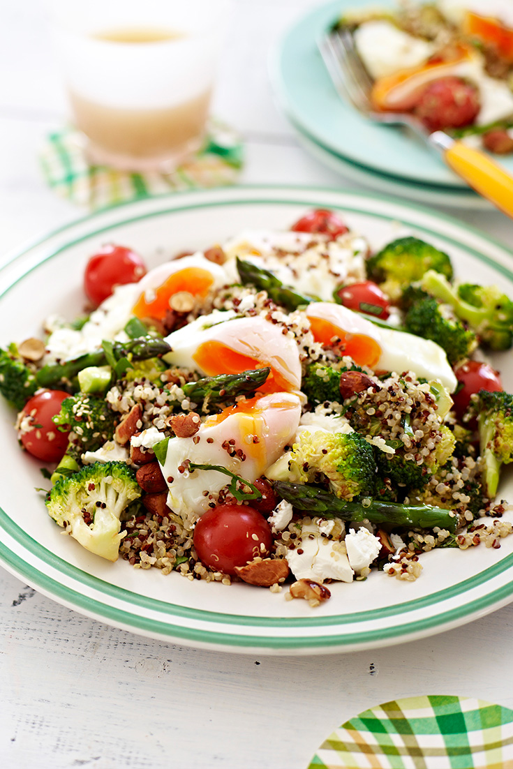 This poached egg with asparagus, quinoa and nut salad recipe is full of vegetarian protein and will keep you full all day.