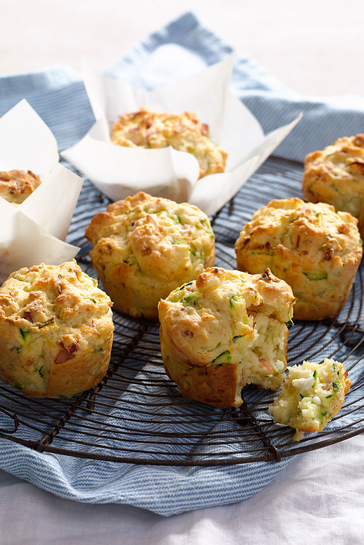 These delicious bacon, fetta and zucchini savoury muffins are perfect make-ahead lunches for the whole week.