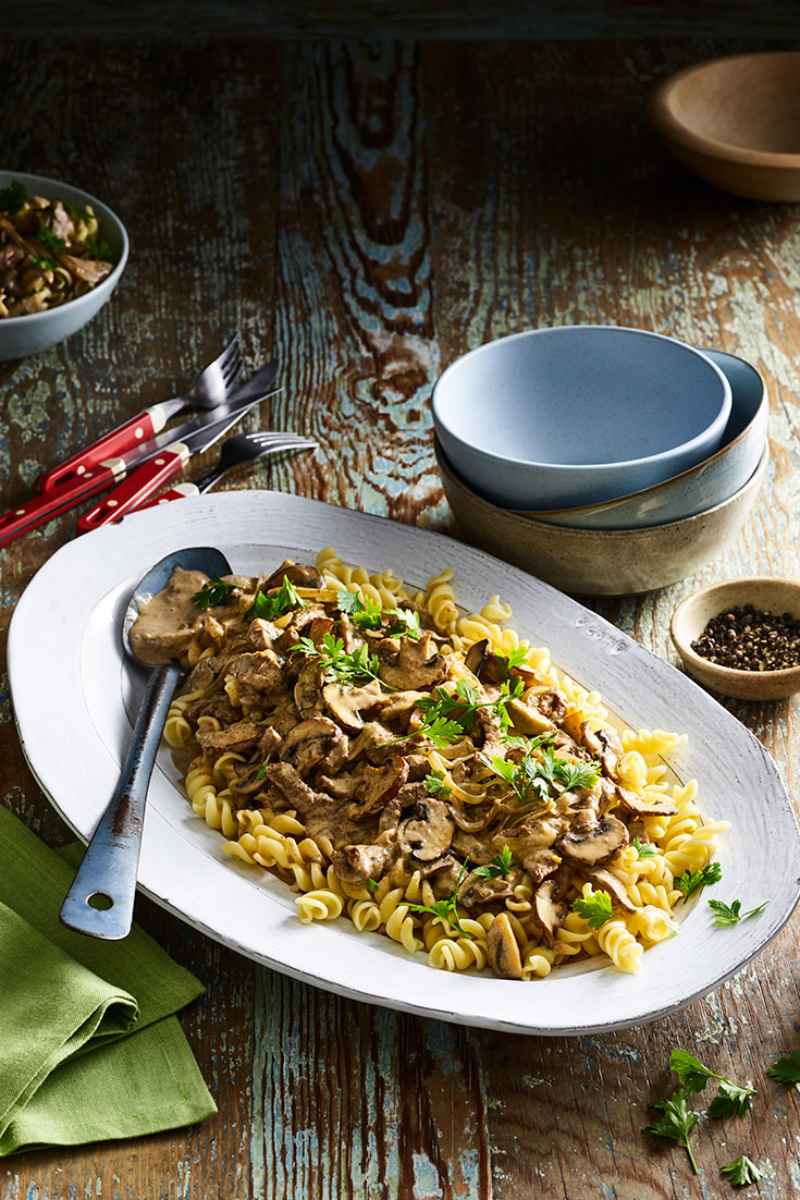 This quick beef and mushroom stroganoff is a perfect midweek meal idea.