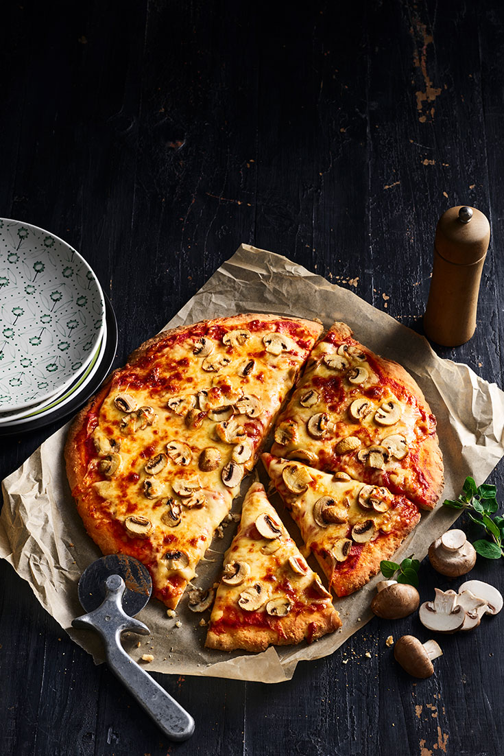 A delicious pizza makes for a perfect midweek meal and with added mushrooms for taste.