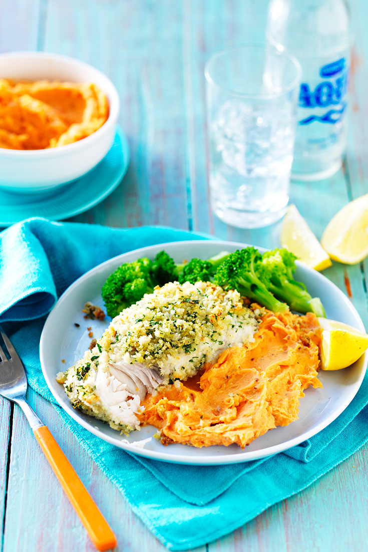 This easy lemon and herb fish with sweet potato mash recipe is packed full of healthy ingredients for a light and delicious meal.