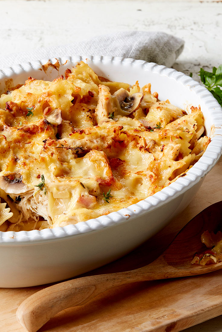 Lemon, chicken, bacon and mushroom farfalle bake is the perfect dish to serve up using your staple ingredients as a base.