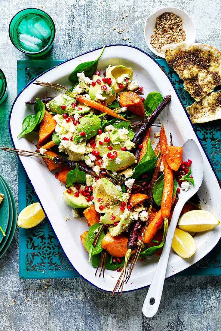 This warm moroccan avocado and roasted vegetable salad recipe is a fantastic hearty salad, if you need some more greens in your winter diet.