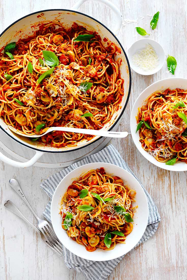 Mushroom spaghetti bolognese is the perfect dish to whip up using staple ingredients already in your pantry.