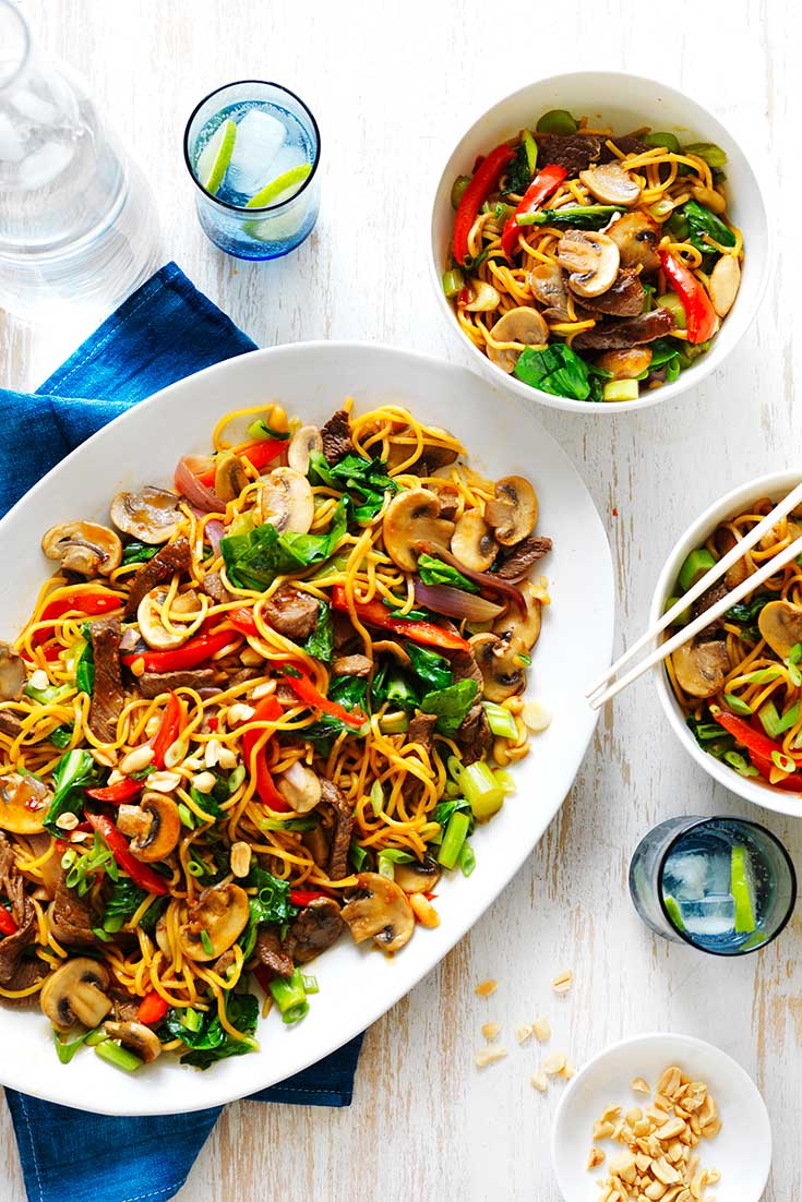 This delicious mushroom, beef and noodle stir-fry is the perfect and easy dish to whip up during busy weeknights.