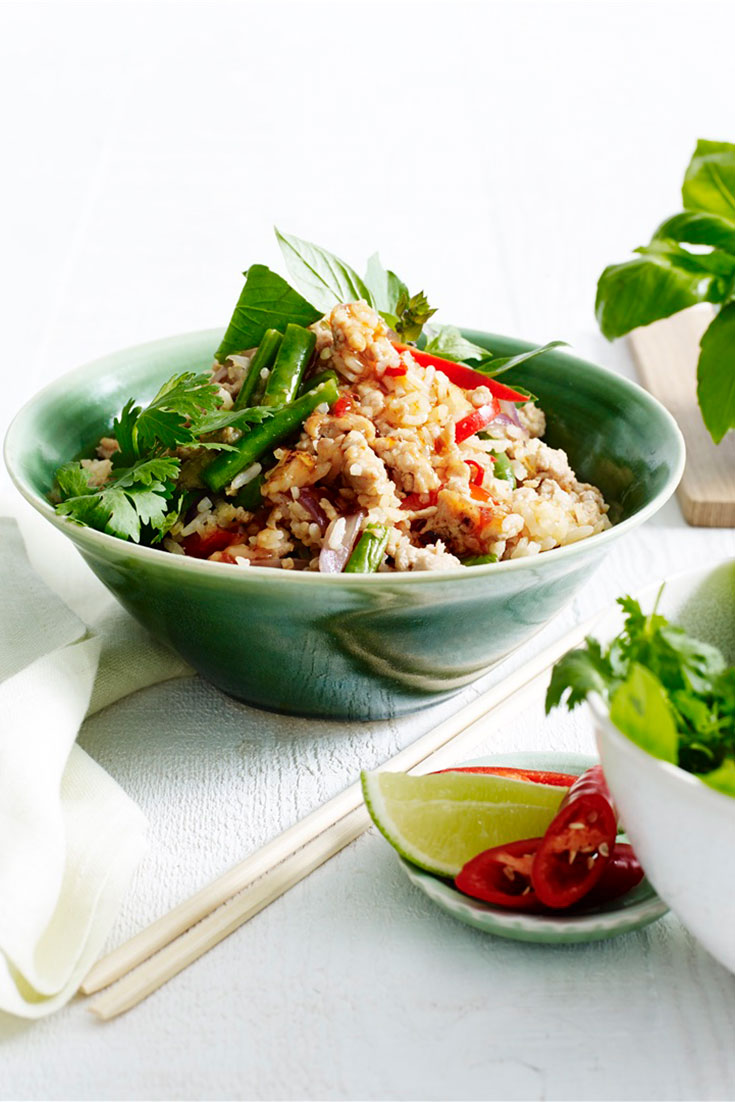 Thai basil and chicken fried rice is a great staple meal for an easy weeknight dinner.