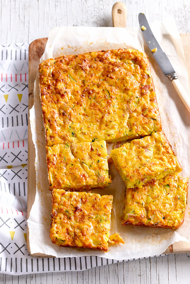 Slice recipes are the ultimate make-ahead lunch idea and this ham, cheese and veggie slice recipe is sure to be a winner.