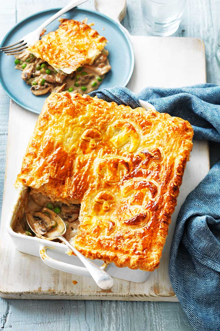 This delicious chicken and mushroom pie recipe is the perfect family dinner idea.