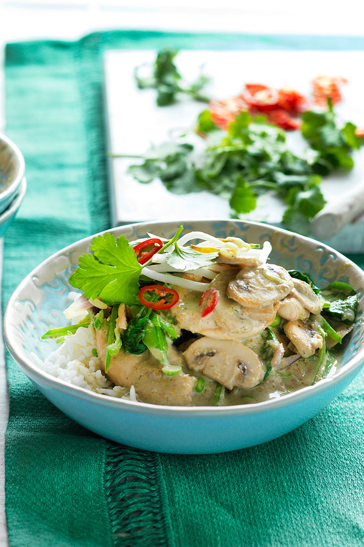 This hearty mushroom and chicken green curry recipe is a perfect winter dinner and with a extra kick of chilli.