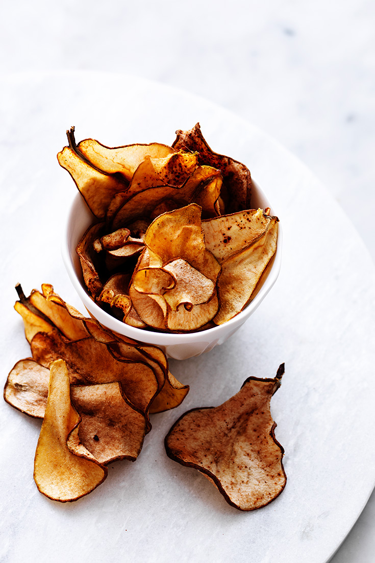 These delicious roasted cinnamon and maple pear chips are the perfect accompaniment for the ultimate winter cheeseboard.