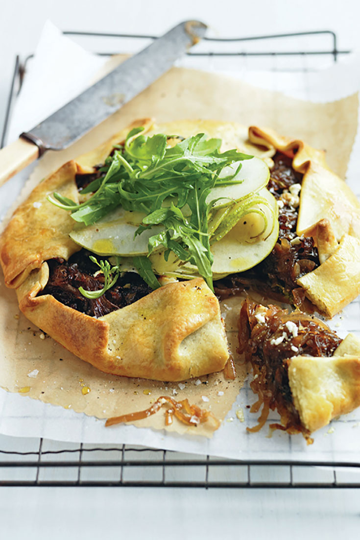 This super stunning caramelised onion and pear tart recipe is a delicious way to enjoy pears in a savoury meal.