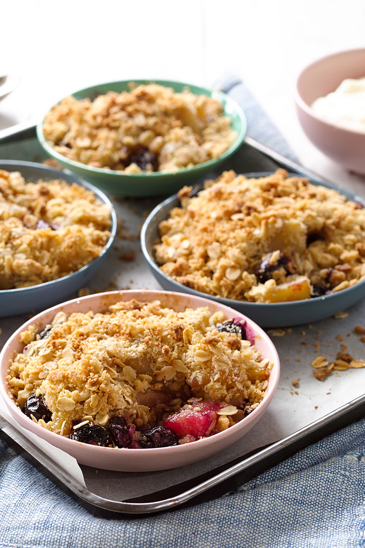 These scrumptious mini pear and blueberry crumbles are a fantastic family dessert idea