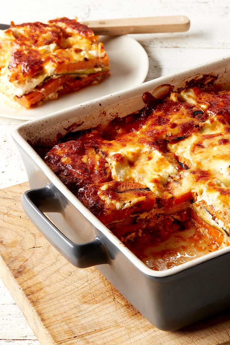 This super tasty zucchini and sweet potato recipe is an easy option for a no-pasta bake recipe.