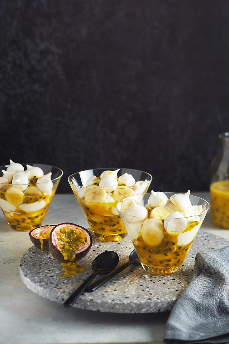 This gorgeous Eton mess with tangy passionfruit sauce recipe is the the perfect idea for last-minute entertaining to impress your guests.
