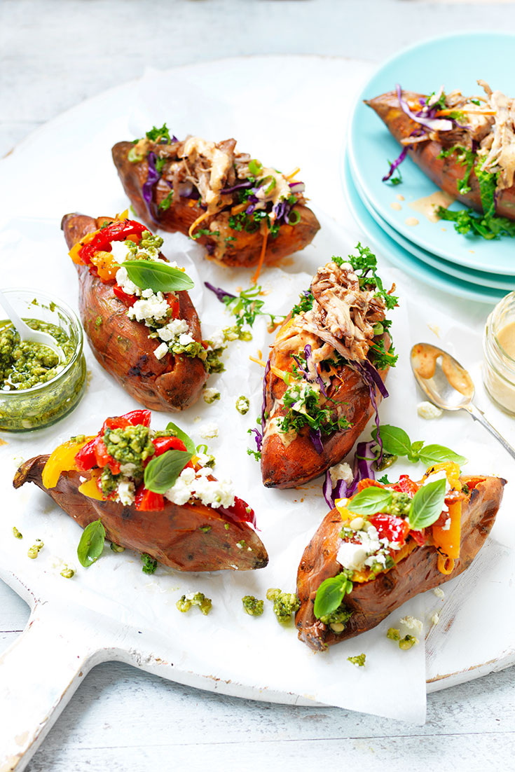 These stunning stand and stuff sweet potatoes are a easy idea to enjoy a delicious sweet potato dinner or lunch.