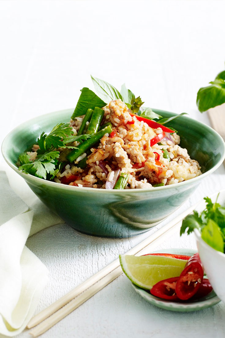 This stunning and easy Thai basil and chicken fried rice, using chicken mince makes for a fantastic family dinner idea.