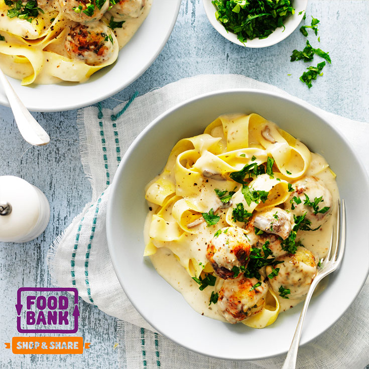 This yummy creamy chicken meatball mushroom pasta is an easy family dinner idea for busy weeknights.